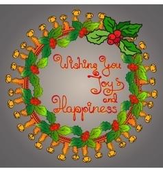 Christmas wreath handwritten words Wishing You vector image vector image