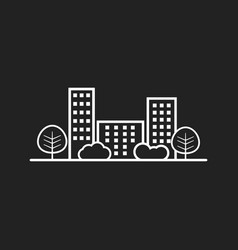 City in flat style building tree and shrub on vector