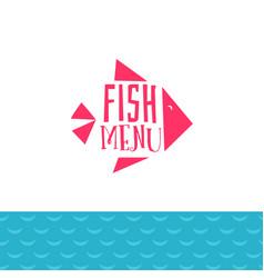fish menu with sea wave vector image