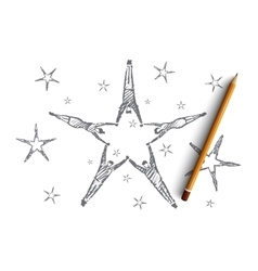 Hand drawn star formed by lying peoples hands vector image