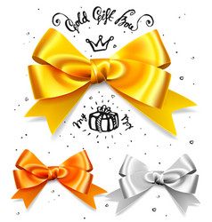 set of gold silver and bronze gift bows satin vector image