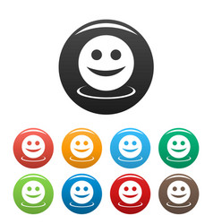 smile icons set vector image