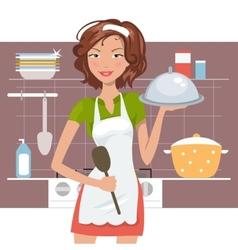 Beautiful woman chef vector image