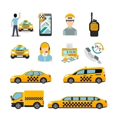 Flat taxi icons Transportation service vector image
