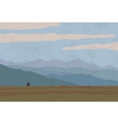 landscape travel nature mountains riders horse vector image
