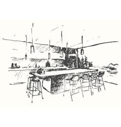 Modern interior Cozy room Ecological drawn sketch vector image