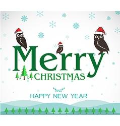 Owl Merry Christmas vector image