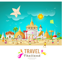 thailand travel building and landmark vector image