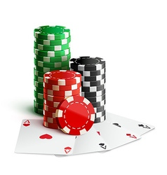 Casino chips and cards isolated on white realistic vector