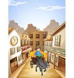 A farmer near the saloon bar vector