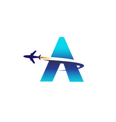 abstract letter airplane logo vector image