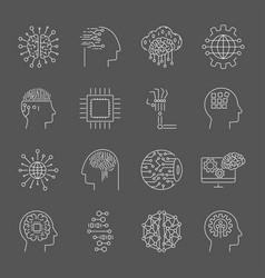 ai icons editable stroke vector image