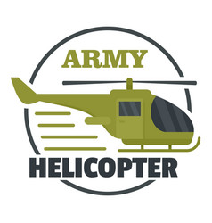 army helicopter icon flat style vector image