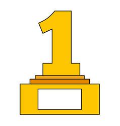 award trophy number one pedestal championship vector image