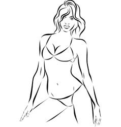 Beautiful fashion woman with bikini on background vector image