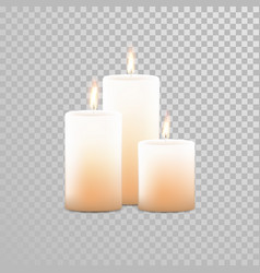 Burning candles wicks isolated set vector