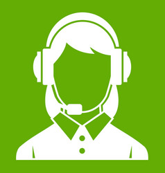 business woman with headset icon green vector image
