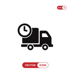 cargo truck and clock icon vector image