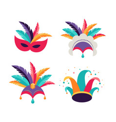 Carnival party purim background masks clown vector