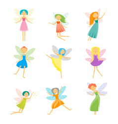 cartoon characters fairies set vector image