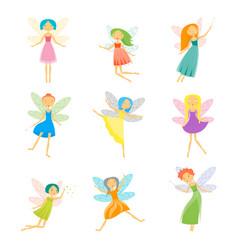 Cartoon characters fairies set vector