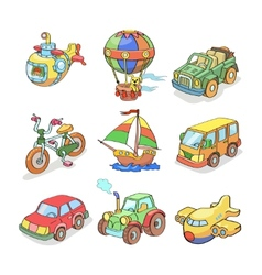 Cartoon collection of Transportation- Colored vector image