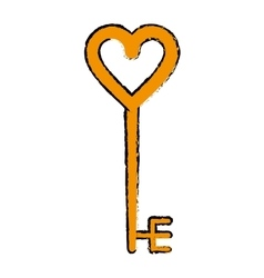 cartoon golden key shaped heart vector image