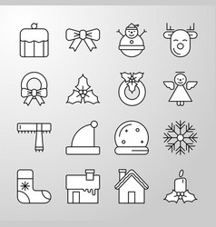 Christmas party and happy new year thin line icon vector