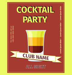 cocktail party red celebration flyer vector image