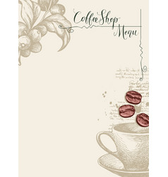 coffee shop menu with cup coffee beans and twig vector image