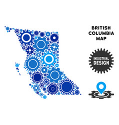 Collage british columbia province map of gears vector
