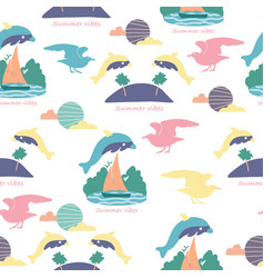 Colorful dolphines in a repeated pattern design vector