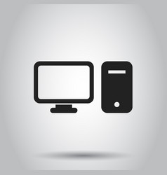 computer monitor icon on isolated background vector image