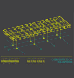 construction drawings 3d metal construction cover vector image