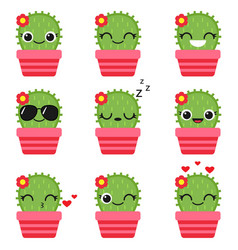 cute cactus in pink pot vector image