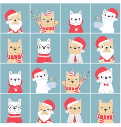 cute french bulldog christmas flat style block vector image