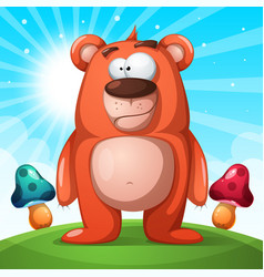 cute funny bear character - landscape vector image