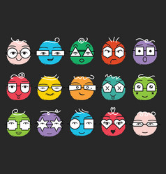 cute trendy colorful abstract emoticons faces set vector image
