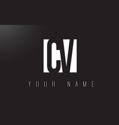 Cv letter logo with black and white negative vector