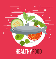 delicious fish salad tomato cucumber healthy food vector image