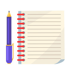 Diary with spiral or page of copybook and ink pen vector