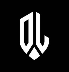 dl logo monogram with emblem shield style design vector image