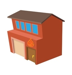 Fire station icon cartoon style vector