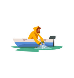 fisherman sitting in boat with fishing with net vector image