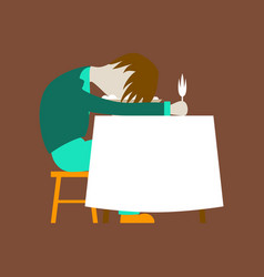Flat on background of man sleeping at desk vector