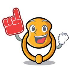 Foam finger vintage door knocker on mascot cartoon vector