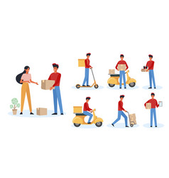 food deliveryman flat big set vector image