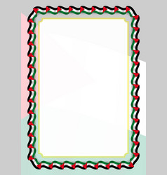 Frame and border of ribbon with palestine flag vector