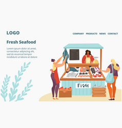 Fresh fish and seafood sale market or store vector