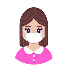 girl in protective medical mask vector image